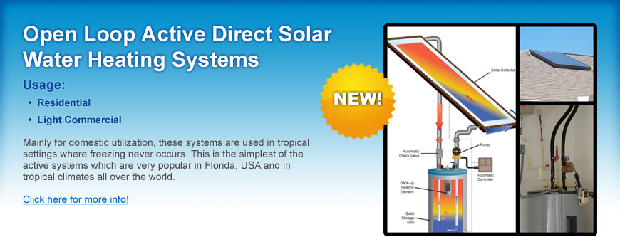 Open Loop Active Direct Solar Water Heating Systems